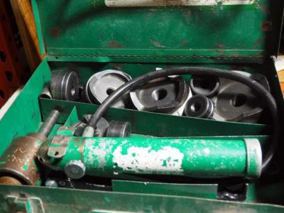 "Greenlee Knockout Punch Set With Hydraulic Driver Model 7310. 1/2"" Threw 4"" Conduit"