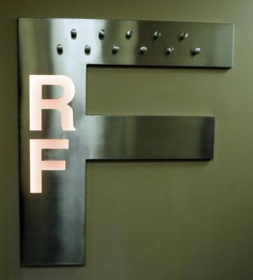"Stainless Steel Letter ""F"" With Lighted ""R"" And ""F"", 44.25"" x 55.5"", Hard Wired In, Bidder Responsible For Proper Removal"