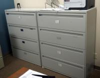 "Hon Metal 4 Drawer Horizontal File Cabinets, 1 With Key, 53"" x 42"" x 18"", Qty 2, Contents Not Included"