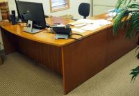 L-Shaped, 6-Drawer Executive Desk, Contents Not Included, Bidder Responsible For Proper Removal