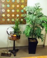 "5 Foot Artificial Palm In Weighted Container With 16"" Round Pedestal Table And Clock, Silk Plants, Desk Lamp, And More"