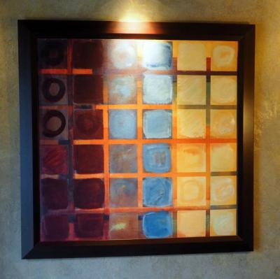 "Wood Framed Abstract Art On Canvas, 41.5"" x 41.5"""