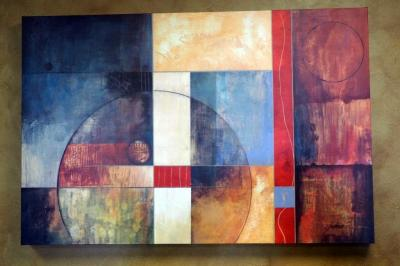 "Abstract Art on Wood Frame by Gudeen, 36"" x 24"""