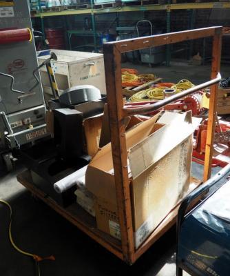 "Metal Framed Rolling Industrial Flatbed Cart, 16"" x 25"" x 1"" Furnace Filters Qty 5, Clear Vinyl Envelopes, Steel Box Connectors, Toilet Kit, And More."