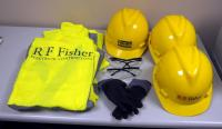 Safety Gear Including Hard Hats, Qty 3, Safety Vests, Qty 3, Eye Protection, Qty 2, And More, Contents of Box