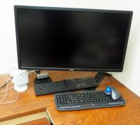 "Dell 28"" Monitor, With Wall Mount, Logitech Wireless Keyboard, Logi Wireless Mouse, Altec Speakers, And More, Mounted To Wall..."