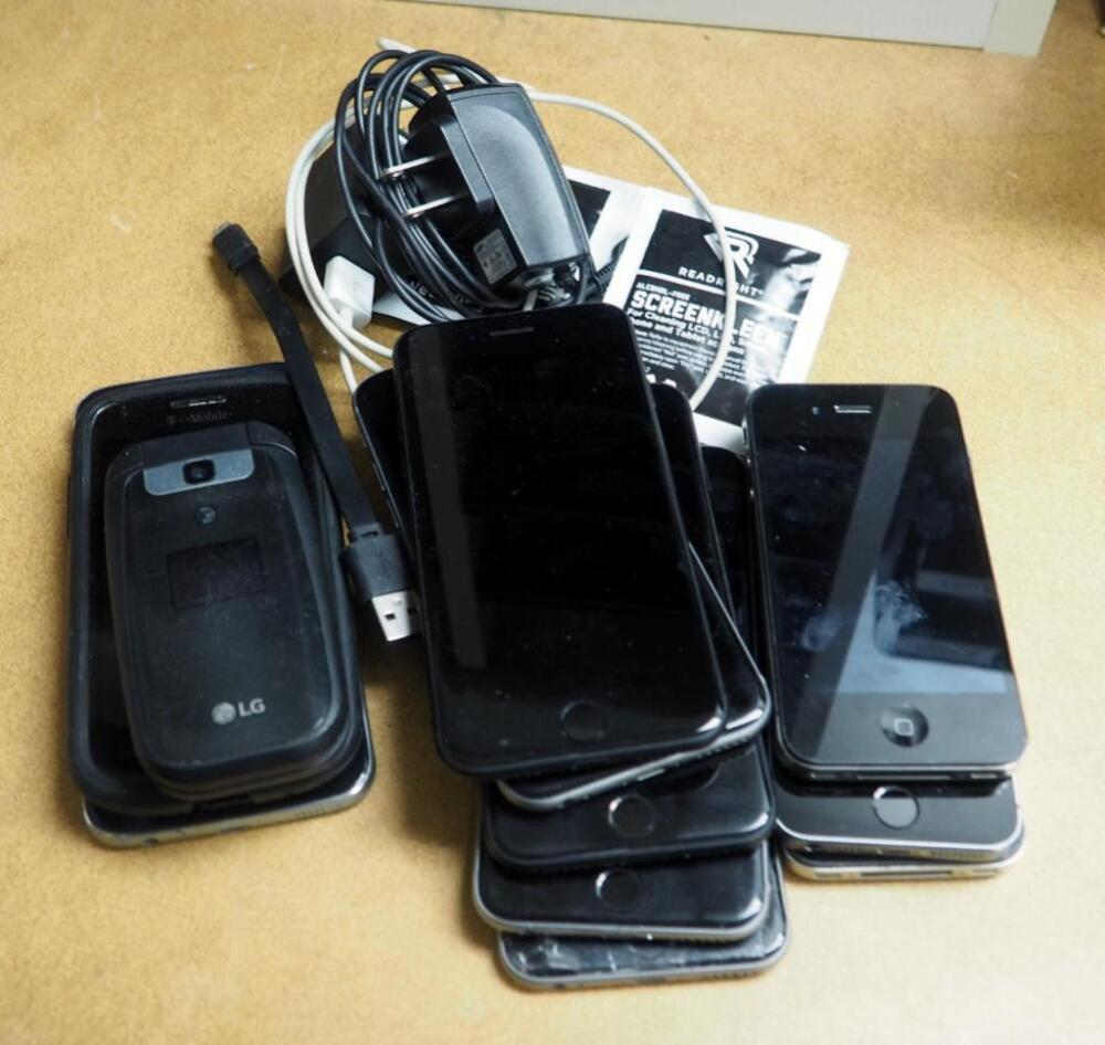 Cell Phone Assortment Including Iphone Qty 8 Samsung Qty 2 And Lg 3 Total Charging Cables