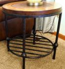 "Round Metal Framed End Tables With Faux Inlay Leather Top 23"" X 22"" Round Qty 2"