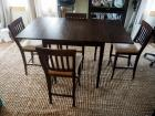 "Pier One Imports, Solid Wood, Counter Height, Drop Leaf Table With 4 Matching Chairs 35"" X 60"" X 36.5"""