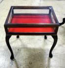 "Wood Display Table With Hinged Lid And Fabric Lined Base, 24"" High x 23"" Wide x 18"" Deep"