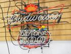 "Budweiser Daytona 500 2007 Neon Light, 32.5"" Wide x 26"" High, Powers On, Top Half Needs Repair"
