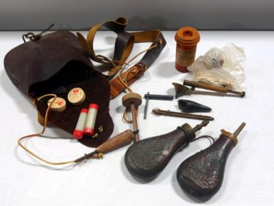 Two Metal Powder Flasks, Leather Possibles Bag, Percussion Caps, Assortment Of Black Powder Tools, Local Pickup Only