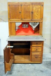 "Antique Hoosier Cabinet With Original Hoosier Label, Very Complete, With Sifters, Slide-Out Shelf, Glass Spice Jars, ""Old Judge Coffee"" Jar, See Desc."