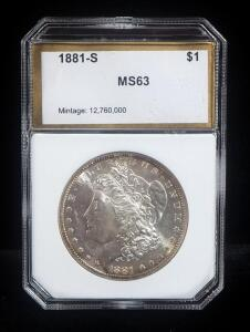 1881 S Morgan Silver Dollar, MS 63, Slabbed By PCI