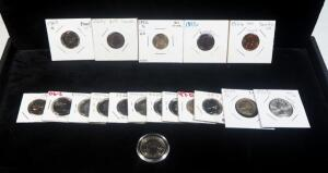 Quarter, Dime, Nickel And Penny Collection, Includes Proofs, Toned, Rare And More, Total Qty 18, See Description
