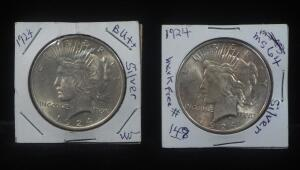 Two 1924 Peace Dollars
