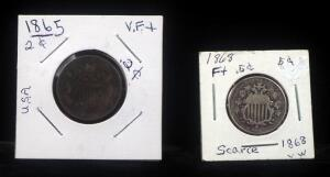 1865 Union Shield 2 Cent Coin And 1868 Shield Nickel 5 Cent Coin