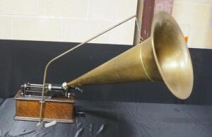 "Edison Home Phonograph, Serial Number 322810, With Un-Marked Metal Horn, 16.5"" Dia, Makeshift Piece To Connect Horn To Machine"