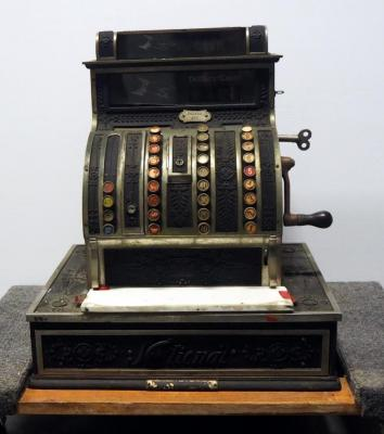 1909 National Cash Register Co NCR Bronze Cash Regster Model 420 SN#740450, Cleat Has Been Replaced, Missing Header