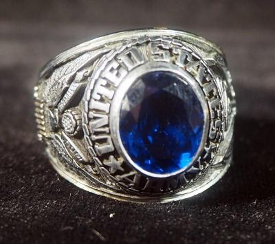 US Army Ring, Size 11-1/4, With Blue Stone, Dated 1975