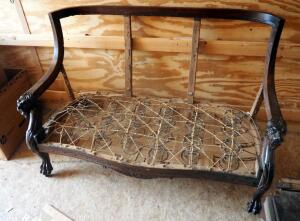 "Antique Parlor Bench With Carved Lion Head Armrests And Claw Feet, Needs Upholstered - 38"" x 55"" x 26"""