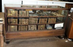 "Antique Solid Wood 18 Drawer Display Case With Glass Front, Sides, And Top - 40"" x 72"" x 24.25"", Contents Not Included, Bidder Responsible For..."