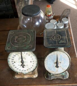 Vintage V. Richards And Conover And American Family Scale Kitchen Scales, Qty 2; Glass Jars, Canisters, And More