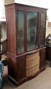 "1940's Duncan Phyfe Style China Cabinet With Glass Doors - 69"" x 41"" x 18"", Missing Drawer Pulls & Knobs"