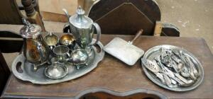 WM Rogers And Grosvenor Community Plate Serving Dishes, Silverware, Silent Butler, And More