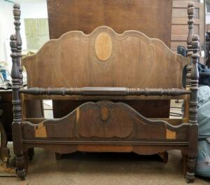 "Antique Solid Wood Full Size Headboard With Matching Footboard - 57"" x 57"", Includes Set Of Bed Rails"