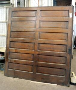 "Antique Quarter Sawn Oak 12 Panel Pocket Door - 85.5"" x 78.25"" x 2.5"", Includes Partial Top Hardware"