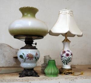 "Antique Hand Painted Porcelain Hurricane Style Oil Lamp - 24"", Glass Lamp Shades, And More"