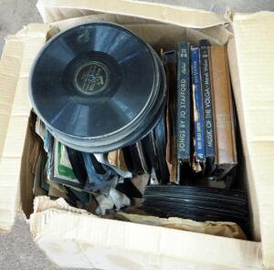 Antique Phonograph Record Album Assortment Including Sinatra, Bing Crosby, Glenn Miller, Tommy Edwards, And More; Various Sizes, Approximate Qty 100