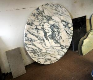 42 Inch Round Marble Tabletop And Assorted Stone Pieces, Qty 3 Pieces