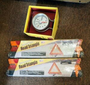 Auto Meter 3 3/4' Tachometer Model 3781, New In Box, And Emergency Roadside Triangles Qty 2