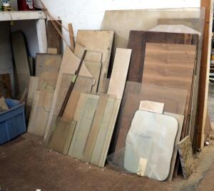 Scrap Glass Assortment Including Glass Shelves, Hutch Panels, Mirrors, And More, Contents Of Corner