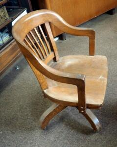 Antique Solid Oak Rolling Desk Chair