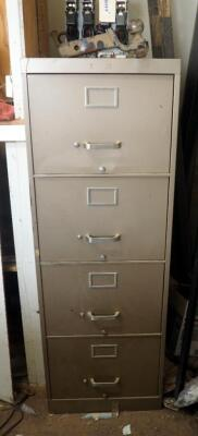 "Heavy Duty Steel 4 Drawer Filing Cabinet - 52"" x 18"" x 29"", Contents Not Included"