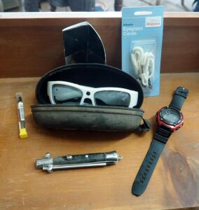 Go Vision Video Recording Sunglasses, Digital Wristwatch, And Switchblade Comb