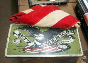 "Vintage American Flag And Wood ""Buy American"" Placard"