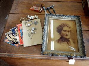"Antique Wood Frame Photograph - 12.5"" x 10.5"", Gillette Razor, Crystal Cosmetic Brush, Giovanni Rose Brooch, Reproduction Travel Trunk Decals, & More"