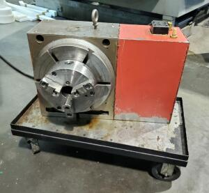 "Pneumatic Haas Rotary With 13"" Face Plate And 8"" 3-Jaw Chuck"
