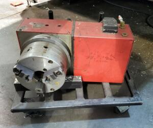 "Pneumatic Haas Rotary With 9"" Face Plate And 8"" 3-Jaw Chuck"