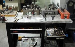 40T Millwright Tooling Including Heads, Collars, Bits, And More; Contents Of Workbench