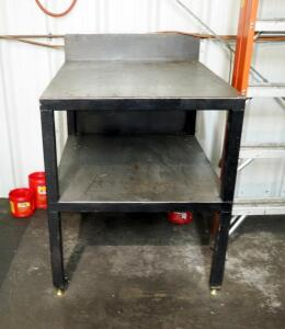 "Heavy Duty Metal Worktable With Shelf, 38"" x 32"" x 40.5"", Contents Not Included"