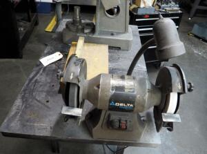 "Delta Shop Master Variable Speed 8"" Bench Grinder, Model GR450, Mounted To Table, Bidder Responsible For Proper Removal"