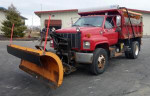 1999 GMC C7500 Dump Truck, 7.2L, 1999 Monroe 10' Snow Blade, 1999 Monroe Salt Spreader, Odometer Reads 51,876 Miles, VIN # 1GDP7H1C5XJ512676, City of Belton Surplus Item, SEE VIDEO AND NOTES