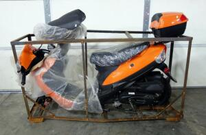 2018 Taotao 50cc Orange Scooter, <1 Mile, Unused, Unassembled, Still In Crate, VIN # L9NTCBAE6J1016288, City of Belton Surplus Item