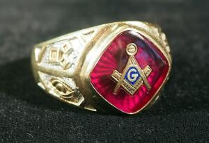 10K Gold Masonic Ring, Size 12, 11.3 Gram Weight