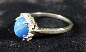 10k White Gold Ladies Ring, Size 6-3/4, Marked Heart, With Blue Stone, 2.1g Total Weight